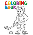 coloring book hockey theme 1 vector image vector image