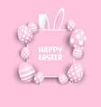 cute easter background with eggs and bunny ears vector image vector image