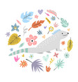 cute hand drawn iguana character with decoration vector image