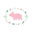 cute pig minimalistic design vector image vector image