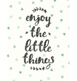 Drawn calligraphic quote enjoy little thing poster vector image vector image