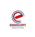 e letter icon for endoscopy medical center vector image