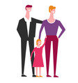 family of mother and father with little daughter vector image