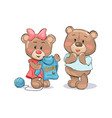 female bear knitting sweater to boyfriend vector image vector image