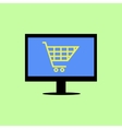 Flat style computer with shopping cart vector image vector image