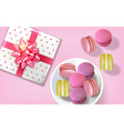 gift box macaroons realistic banner vector image vector image