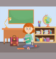 girl with education books and backpack in the vector image vector image