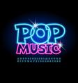 glowing poster pop music blue neon alphabet vector image