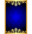 gold and blue floral frame vector image vector image