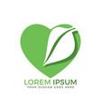 green leaf heart shape ecology nature logo vector image vector image