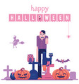 happy halloween congratulation banner with zombie vector image vector image