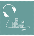 Headphones cord equalizer building house vector image