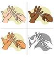injured hand with broken glass forceps vector image vector image