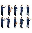 isometrics set of men in a suit rear view vector image vector image