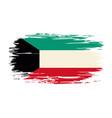 kuwaiti flag brush grunge background vector image vector image
