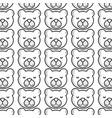 line cute teddy bear head background vector image vector image