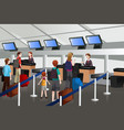 lining up at check-in counter in airport vector image