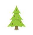 lonely green christmas tree iisolated on white vector image vector image