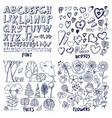 lot of black flowers hearts trees and font sample vector image vector image