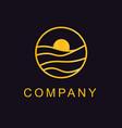 luxury gold line logo vector image