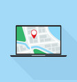 map application on laptop pc monitor flat design vector image