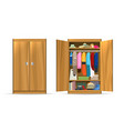 open closets cupboard wardrobe vector image vector image