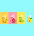 orange watermelon kiwi lemon smoothie set vector image vector image
