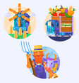 organic food icons rural summer landscape with vector image