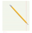 Pencil lying on notebook sheet in line with the vector image vector image
