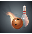 realistic bowling icon set on dark gray background vector image vector image