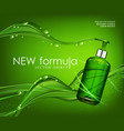 realistic green transparent bottle 3d with soap vector image vector image