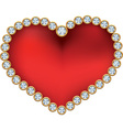 Red heart with diamonds vector image vector image