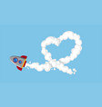 rocketship flying in sky vector image