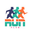 run club logo colorful emblem with abstract vector image