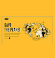 save planet earth day celebration landing page vector image vector image