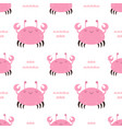seamless pattern with cartoon crab on white vector image vector image