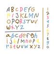 set element drawing kid alphabet colorful vector image