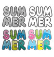 set of hand drawn word summer colorful vector image vector image