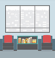 Sofas With Bookcase In Front Of Wide Glass Window vector image vector image