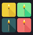 square icons with burning match on dark background vector image vector image