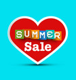 summer sale with red heart - vector image vector image