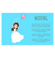 wedding card bride in white dress throwing bouquet vector image vector image