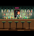 bar counter with bartender lady vector image