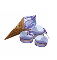 Ice cream delicious cone and macaroons vector image