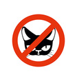 Stop cat Pet forbidden Frozen silhouette cat head vector image