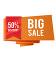 50 discount big sale red ribbon orange banner vec vector image vector image