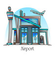 airport building with runway exterior view vector image vector image