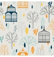 autumn pattern with vintage birdcages in retro vector image vector image