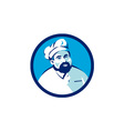 Baker Chef Cook Bearded Circle Retro vector image vector image