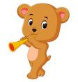 bear playing saxophone vector image vector image
